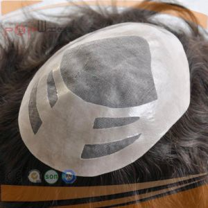 Fitable Hotselling Human Hair Mono Lace Base Hand Tied Toupee Hairpiece pictures & photos