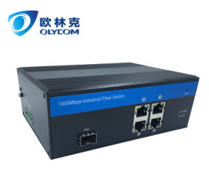 Industrial Poe Fiber Switch with One SFP Fiber Port and 4 Poe RJ45 Port external power supply