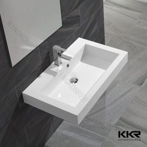 White Artificial Stone Bathroom Wall Hung Basins (170629) pictures & photos