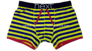 New Style Yarn-Dyed Stripe Men′s Boxer Short Underwear with Opening pictures & photos