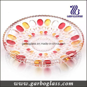 Decorative Glass Fruit Plate with Color pictures & photos