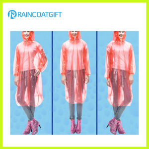 Emergency Disposable Pink PE Raincoat with Elastic Sleeve pictures & photos