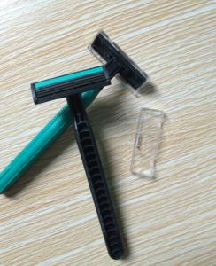 Rubble Handle Twin Blade Shaving Disposable Razor with Lubricate Strip