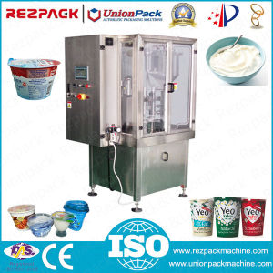 Automatic Yoghurt Weighing Filling Sealing Plastic Cup Packing Machine (RZ-R/2R/3R) pictures & photos