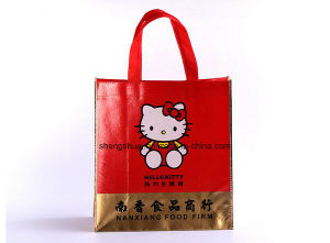 Hello Kitty Design Red Color Fashion Laser Laminated Non Woven Bag for Shopping
