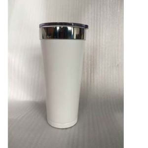 20oz Double-Wall Stainless Steel Vacuum Tumbler with White Powder Coating