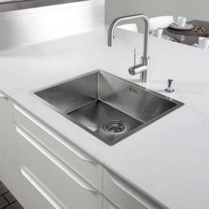 Custom Made 62′′ White Artificial Stone Quartz Kitchen Countertop pictures & photos