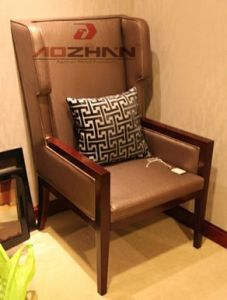 Elegant Oak PU/Leather Bedroom Chair Banquet Chair Lobby Chair