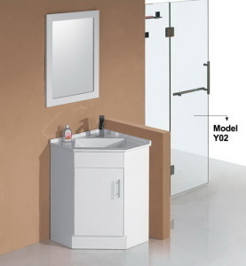 High Glossy MDF Corner Bathroom Vanity with Mirror (PC6060) pictures & photos