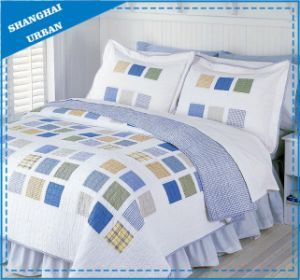 Square Cubic Shade Printed Polyester Bedspread Set pictures & photos