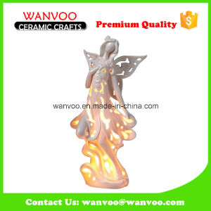 Personalize Beauty-Shape Ceramic Hollow out Angel Statue with Candle Light pictures & photos