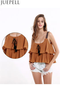 European and American Women New Summer Solid Color Top Laminated Flounced Fold Bandage Strapless Harness Small Shirt Women Vest Blouse pictures & photos