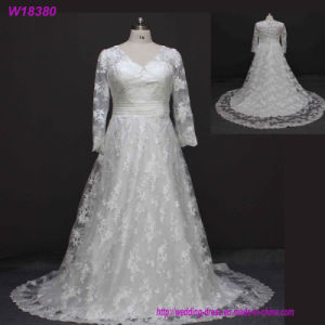 W18380 Wholesale Elegant Simple White Ball Gown Luxurious Wedding Dresses with Long Sleeve pictures & photos