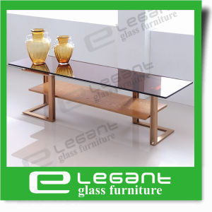 Golden Stainless Steel Side Table with Somked Glass Top pictures & photos