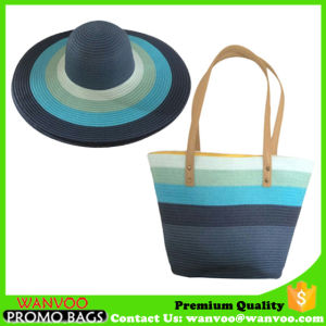 Straw Cotton Beach Handbag with Wide Brim Bat for Lady pictures & photos