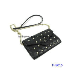 Black Quilted Pearl Decor Women Crossbody Messenger Bag (TH9015)