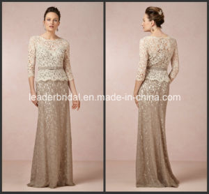 Lace Mother of The Bride Dress Champagne Long Sleeves Formal Evening Dress E151204 pictures & photos