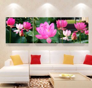 3 Panel Wall Art Oil Painting Lotus Painting Home Decoration Canvas Prints Pictures for Living Room Framed Art Mc-262 pictures & photos