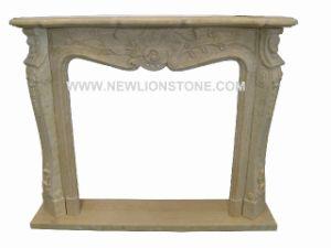 Perlato Beige Marble Fireplace Mantel, Marble Fireplce
