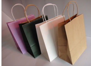 Sell Well Brown Craft Paper Shopping Bag with Rope Handle pictures & photos