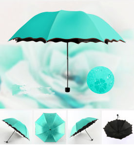 Magic Water Mark Printing Flower Edge Girl′s Dome Shape Folding Umbrella pictures & photos