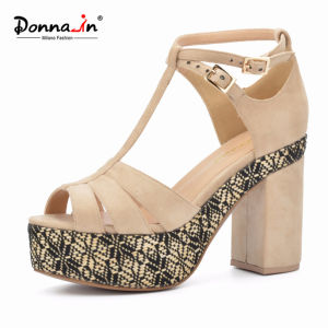 Lady Casual Microfiber Weave Platform Women High Heels Sandals Shoes pictures & photos