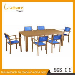 Many People Use Restaurant Garden Furniture Rectangular Plastic Wood Dining Table and Chair pictures & photos