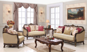 Classical Wood Sofa Set Traditional Fabic Couch for Living Room pictures & photos