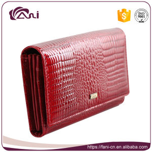 High Quality Handmade Lady Cow Leather Wallet with Crocodile Skin pictures & photos