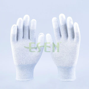 Carbon Fiber Anti-Siatic Gloves PU Coated Finger Gloves PU Safety Gloves pictures & photos