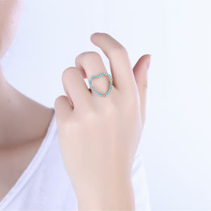 Heart Shape Kallaite Stone Material Gold Plated Girl Rings pictures & photos