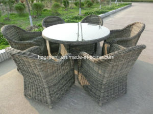 7 Pieces Round Rattan Dining Set Outdoor Furniture pictures & photos