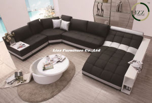 Italy Design Genuine Leather & Fabric Sofa Bed for Villa Project (LZ-219) pictures & photos