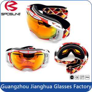 Adult White Frame Black Strap Snow Sports Goggles with Detachable Lens pictures & photos