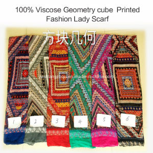 100% Viscose Hot Sale Fashion Ladies Geometry Cube Printed Scarf pictures & photos