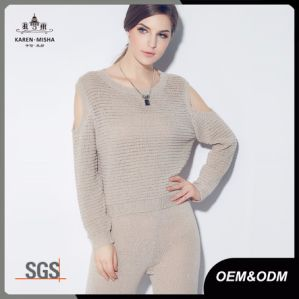Ribbed Texture Cold Shoulder Ladies Fashion Knitwear pictures & photos