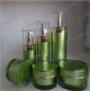 Green Acrylic Cream Jar Lotion Bottle for Cosmetic Packaging (PPC-NEW-069) pictures & photos
