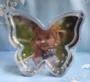 OEM Butterfly Shaped Plastic Photo Snow Globe for Deco pictures & photos