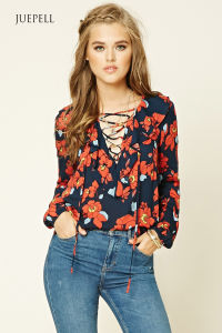 Fashion Flower Print Women Blouse pictures & photos