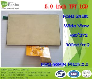 "5.0"" 480*272 RGB 40pin 300CD/M2 TFT LCD Display, Option Touch Panel pictures & photos"