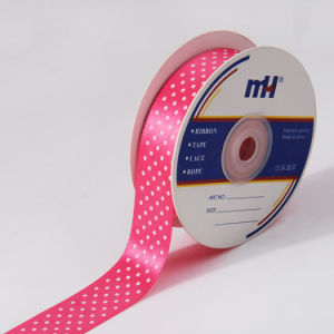 25mm Pink Polka DOT Printed Satin Ribbon pictures & photos