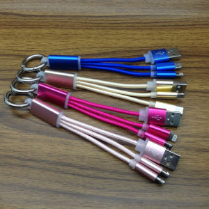 Metal-Head 13cm 2 in 1 Keychain Nylon Braided USB Cable pictures & photos