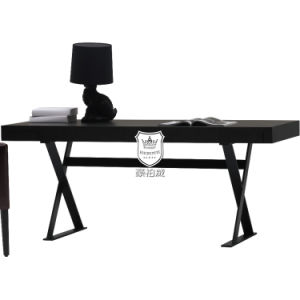 Hotel Oak Veneered Surface Writing Desk Crossword in Blackened Steel pictures & photos