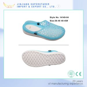 Unisex Summer Holey Breathable Clog with Jelly PVC Upper pictures & photos