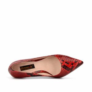 Women High Heels Pumps Lady Snake Pattern Leather Dress Shoes pictures & photos