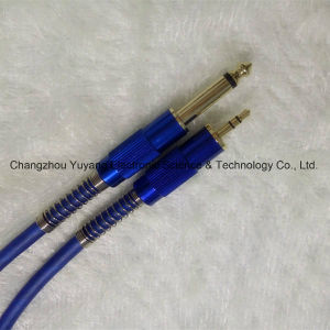 6.35 Mono Plug to 3.5 Stereo Microphone Link/Guitar/Music Instrument Blue Cable pictures & photos