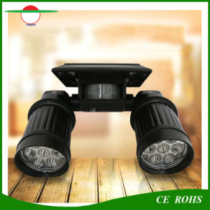 Angle Adjustable Dual Head LED Montion Sensor Solar Spotlight Solar Powered Outdoor Wall Light for Gate Garage pictures & photos
