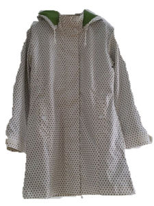 Dots Hooded Reflective PU Hooded Raincoat/Rain Jacket pictures & photos