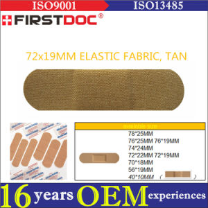 High Quality OEM 72*19mm Elastic Fabric Material Tan Color Adhesive Bandages pictures & photos