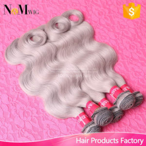 No Bad Smell Silver Color Body Wave Brazilian Gray Remy Hair Weave pictures & photos